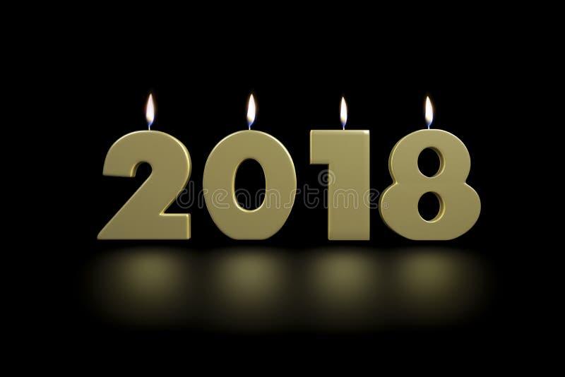 ` S 2018 Новых Годов золотое облегчает вверх свечи с отражением пола иллюстрация вектора