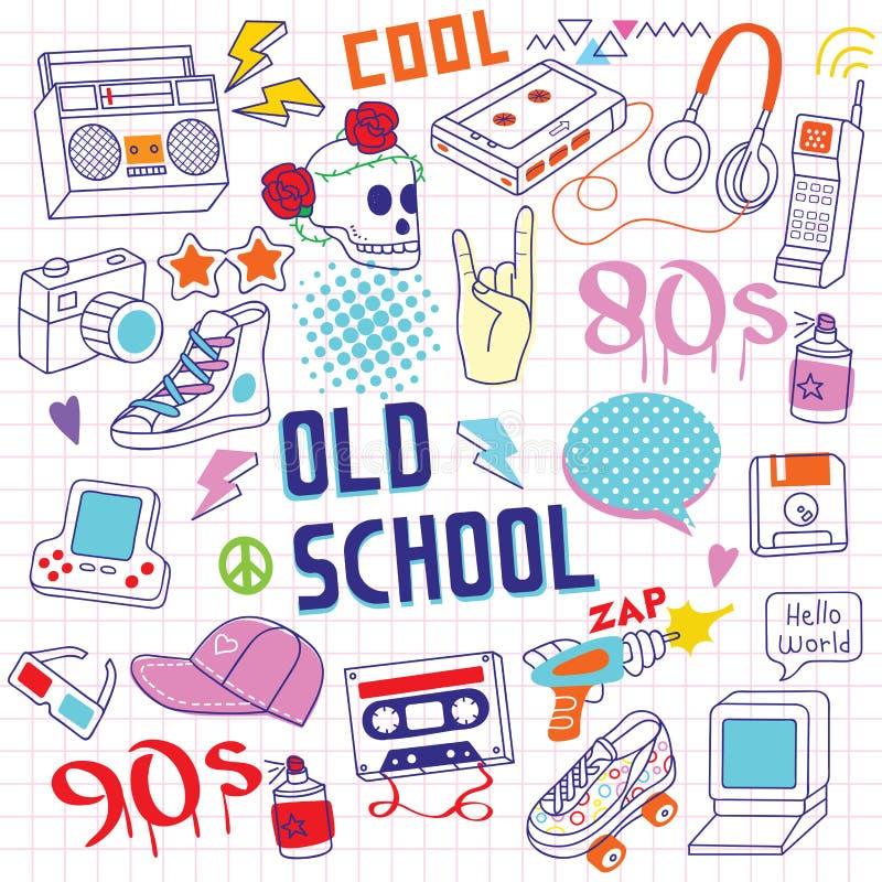 80s - объекты Doodle 90s Handrawn иллюстрация вектора