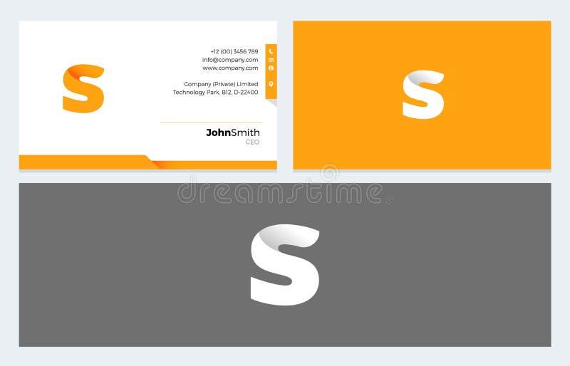 S помечает буквами логотип Origami и шаблон визитной карточки иллюстрация вектора