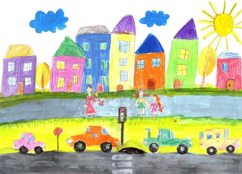 ` S ребенка рисуя счастливую семью, здание, автомобиль бесплатная иллюстрация