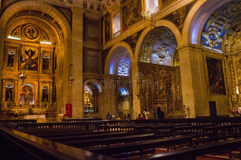 S Церковь Roque, Лиссабон, Португалия - генерал внутри взгляда стоковые фотографии rf