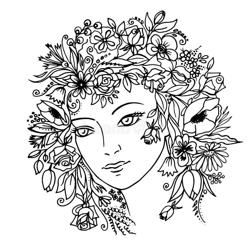 有花的女孩在她的头发 ?? 皇族释放例证