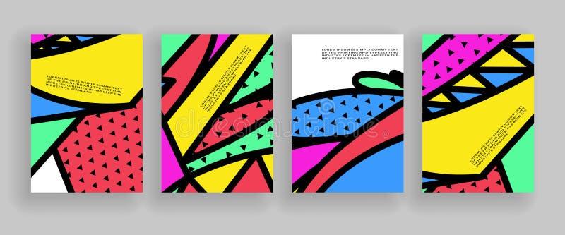 最小的盖子设计 招贴模板设置与抽象几何形状,80s孟菲斯明亮的样式平的设计 皇族释放例证