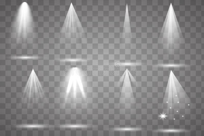 Scene illumination collection, transparent effects. vector illustration