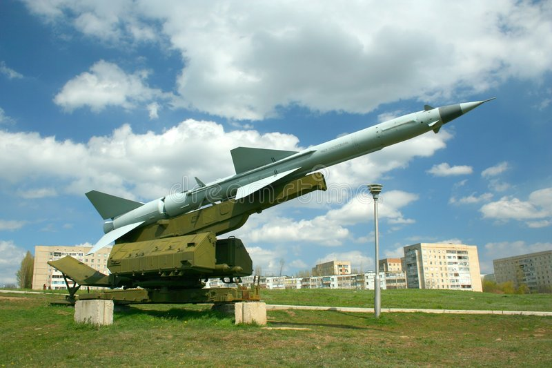 S-75 Dvina - SA2 Guideline. Soviet ground to air missile s-75 Dvina - SA2 Guideline photographed in Yuzhnoukrainsk, Ukraine royalty free stock images