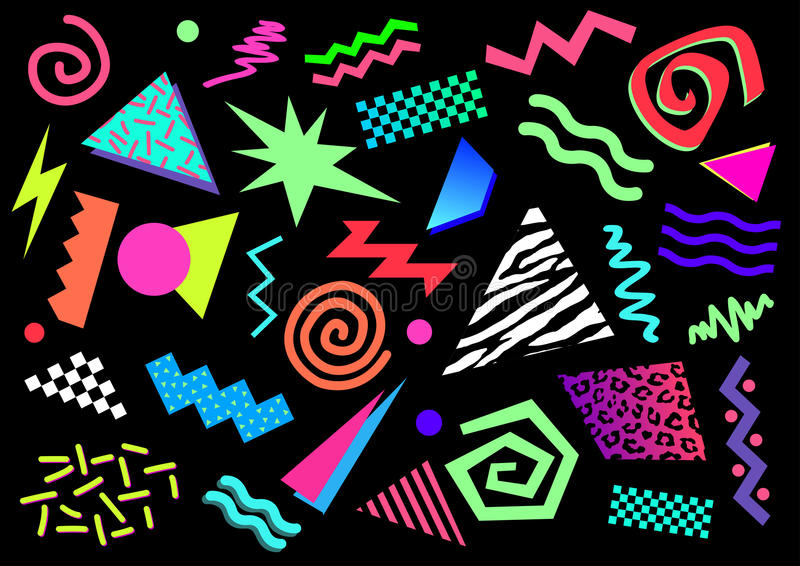 80s 90s Abstract Shapes. Vector illustration of abstract shapes and bright colors from between the 80s and the 90s