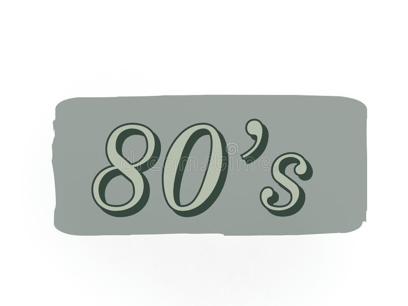 The 80s age year of old fashion on a grey color royalty free stock photography