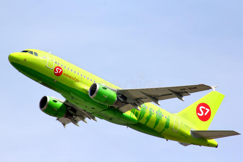 S7 Airlines Airbus A319. MOSCOW - MAY 10, 2013: S7 Airlines Airbus A319 takes off Domodedovo International Airport, Russia stock image