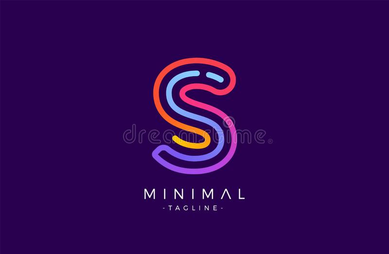 S Alphabet letter logo. Abstract Glossy Colorful logotype vector design template. royalty free illustration