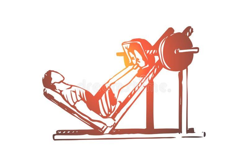 S?ance d'entra?nement, formation, forme physique, saine, concept de sport Vecteur d'isolement tir? par la main illustration stock