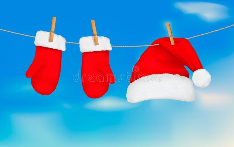 S'arrêter de chapeau et de mitaines de Santa. illustration stock