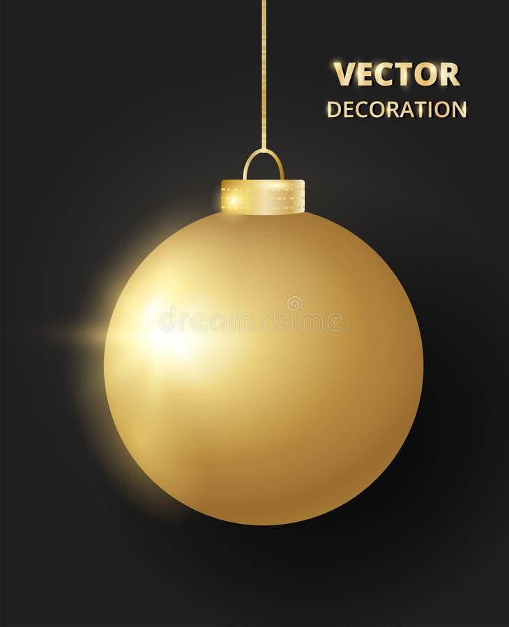s'arrêter de Noël de bille Babiole d'or de scintillement de scintillement, décoration de vacances illustration libre de droits