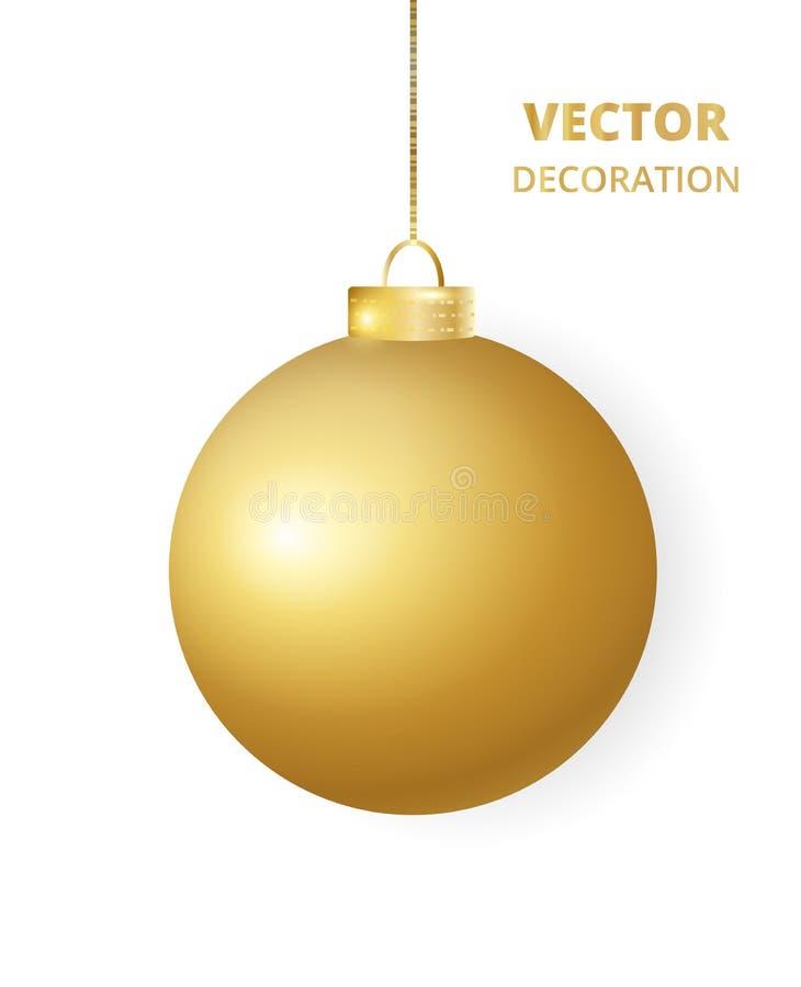 s'arrêter de Noël de bille Babiole d'or de scintillement de scintillement, décoration de vacances illustration stock