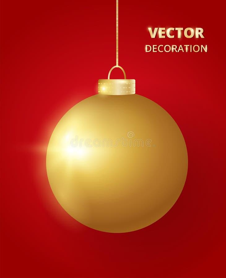s'arrêter de Noël de bille Babiole d'or de scintillement de scintillement, décoration de vacances illustration de vecteur
