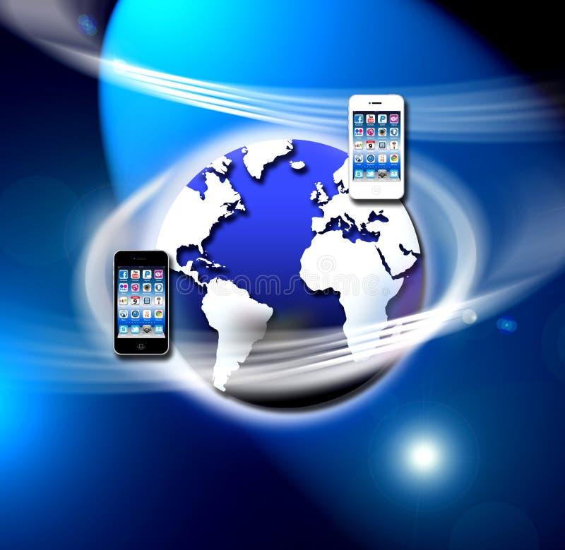 säkrar det mobila nätverket för apps radion stock illustrationer