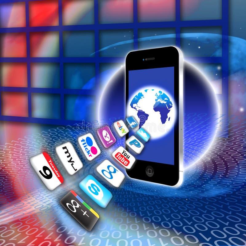säkrar det mobila nätverket för apps radion royaltyfri illustrationer
