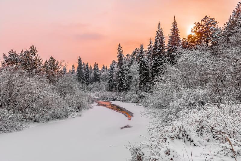 's Avonds lucht boven een bevroren bosrivier royalty-vrije stock foto