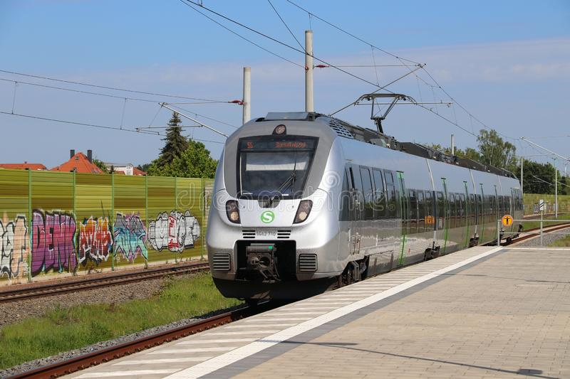 S-Bahn Central Germany. LEIPZIG, GERMANY - MAY 9, 2018: Electric public transportation train of S-Bahn Mitteldeutschland. The train is operated by DB Region. It stock image