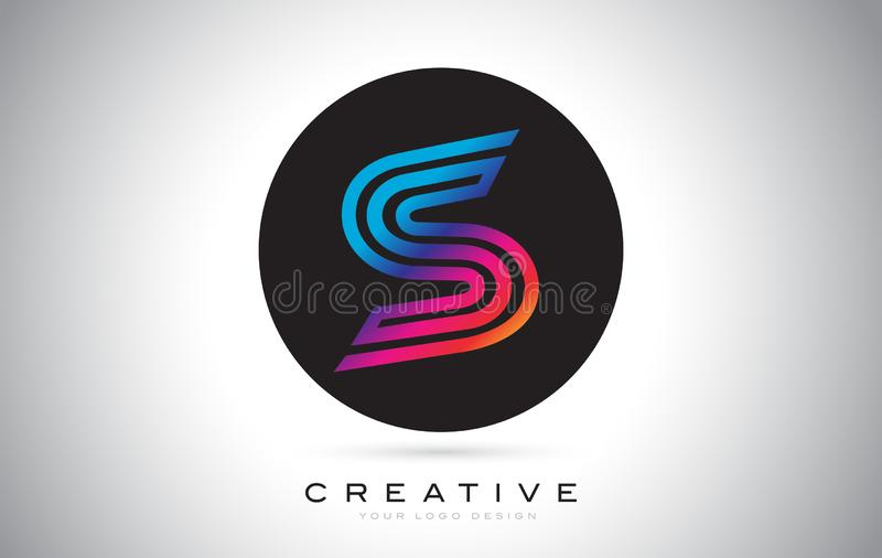 S Blue Purple Letter Logo Design. Colorful Modern S Icon Vector Illustration royalty free illustration