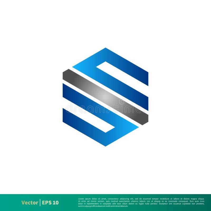 S-bokstavssexhörning Logo Template Illustration Design Vektor EPS 10 stock illustrationer