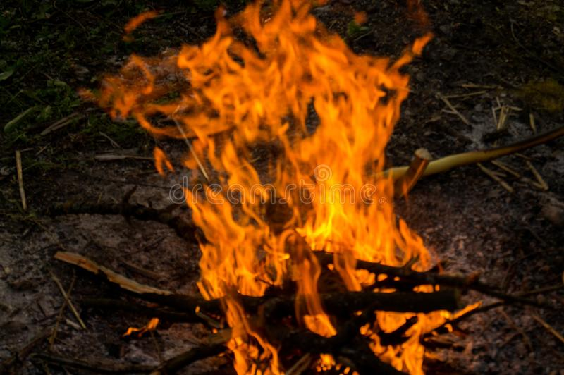 S Bonfire in the nature. Bright fire and flame tails. Bonfire in the nature. Bright fire and flame tails. Red fire. The warmth of a night fire stock image