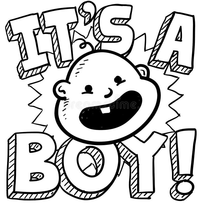 It S A Boy Baby Sketch Stock Photos