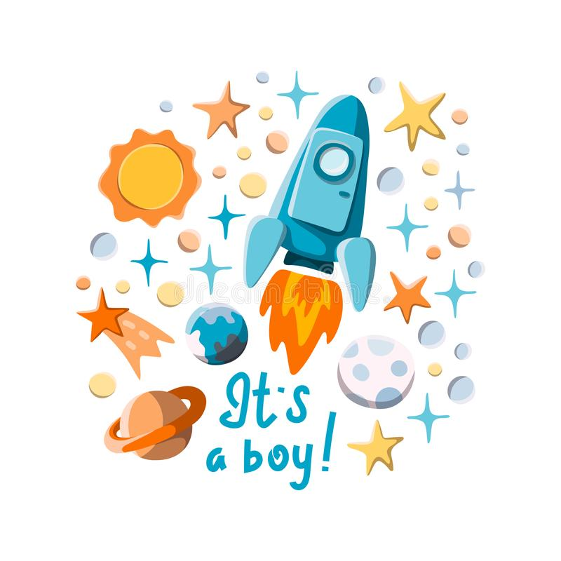 It`s a boy. Flying rocket, stars and planets cartoon illustration for boy baby shower stock illustration