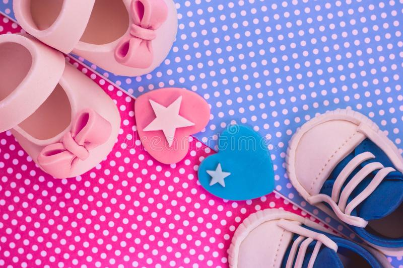 It`s a boy and a girl concept. Twins background. Baby shower inv stock image