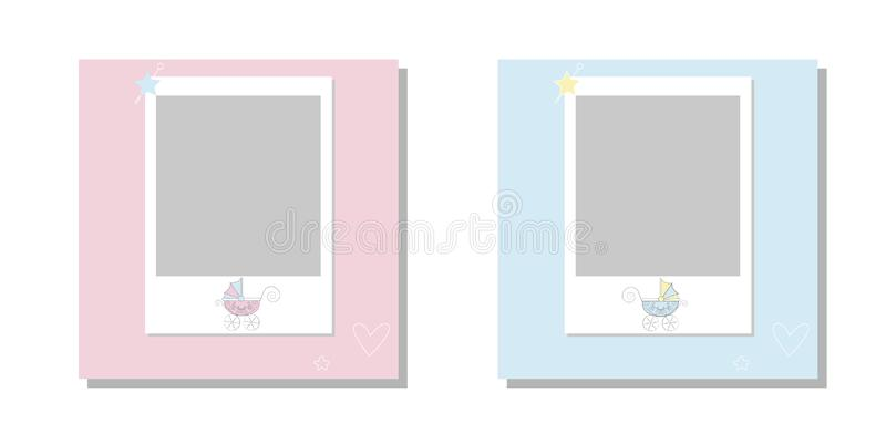 It`s a boy it`s a girl Vector greeting card. Baby announcement card design with stroller. Cute frame border. Frames set for baby`s vector illustration