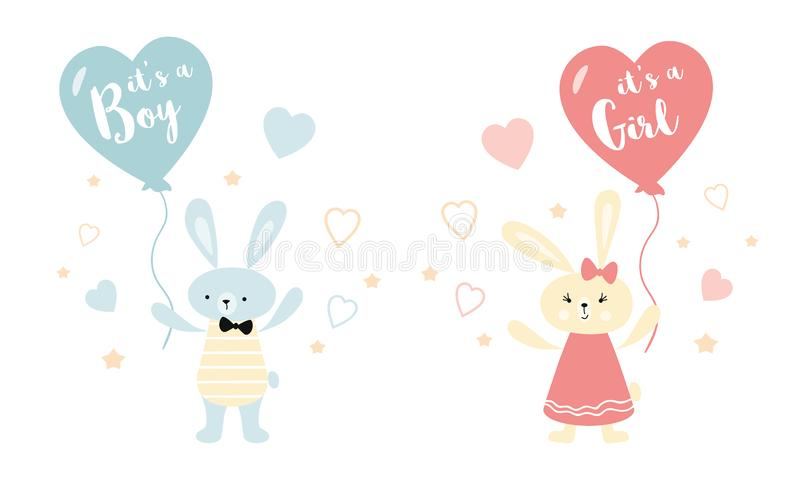 It`s a boy it`s a girl Vector greeting card. Baby shower card. Baby announcement card design element rabbit ballon royalty free illustration