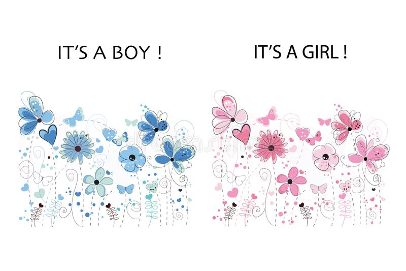 It`s a boy. It`s a girl. Baby shower greeting card. Floral greeting card. Pink and blue colored abstract decorative spring flowers vector illustration