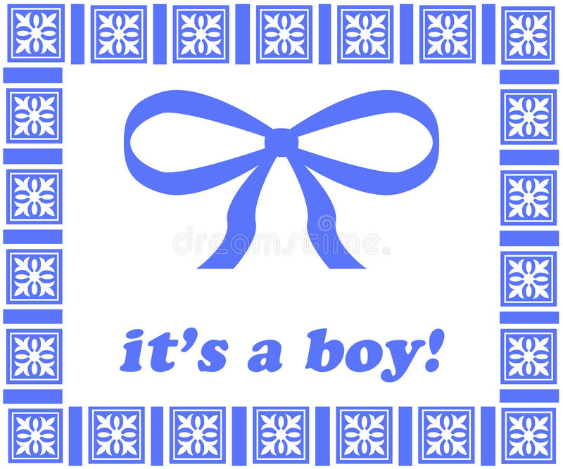 Download It's a Boy Tag_Blue Ribbon stock illustration. Image of born - 12011129