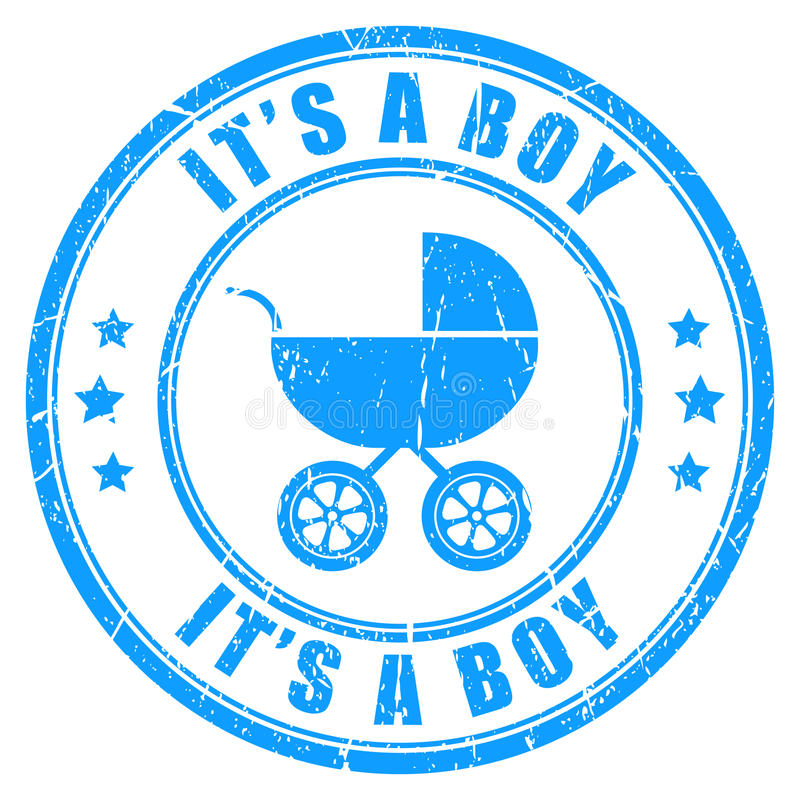 Its a boy vector stamp. Isolated on white royalty free illustration