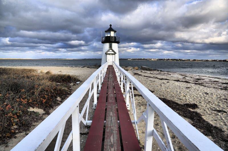 ` S Brant Point Lighthouse de Nantucket imagenes de archivo