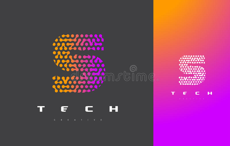 S-Buchstabe Logo Technology Verbundener Dots Letter Design Vector lizenzfreie abbildung