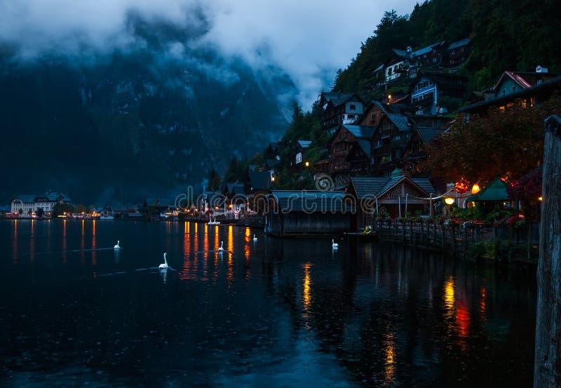 ` s che piove in Hallstatt fotografia stock libera da diritti