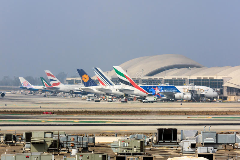 A380s chez LAX photo stock