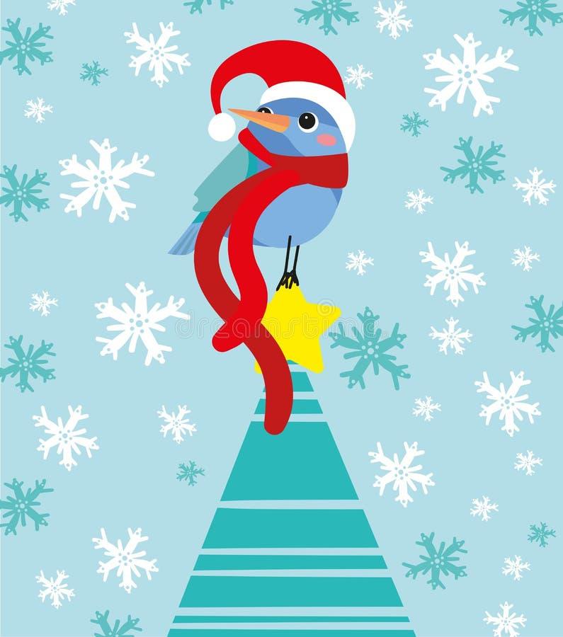 Little bird wants be Santa Claus royalty free illustration