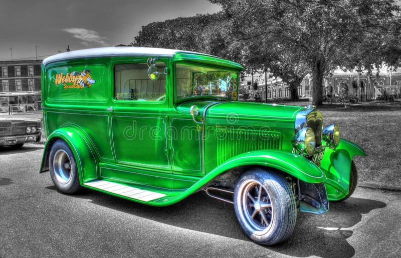 1930s classic American Ford Model A delivery van on a black and white background stock photo