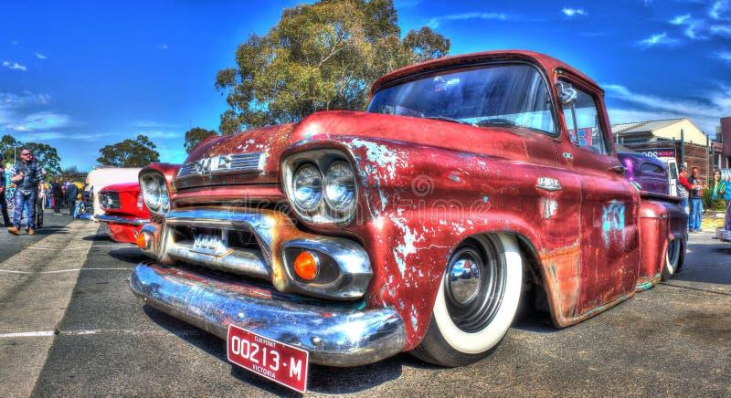 1950s Classic American GMC pickup truck. Rusty. 1950s American GMC pickup truck on display at a car and bike show held in Melbourne, Australia stock photos