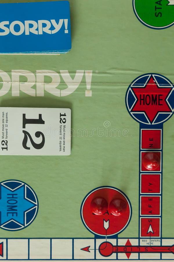 1980s Classic Board Games - Sorry. WOODBRIDGE, NEW JERSEY - October 9, 2018: Details of a circa 1980s board game of Sorry are shown royalty free stock image