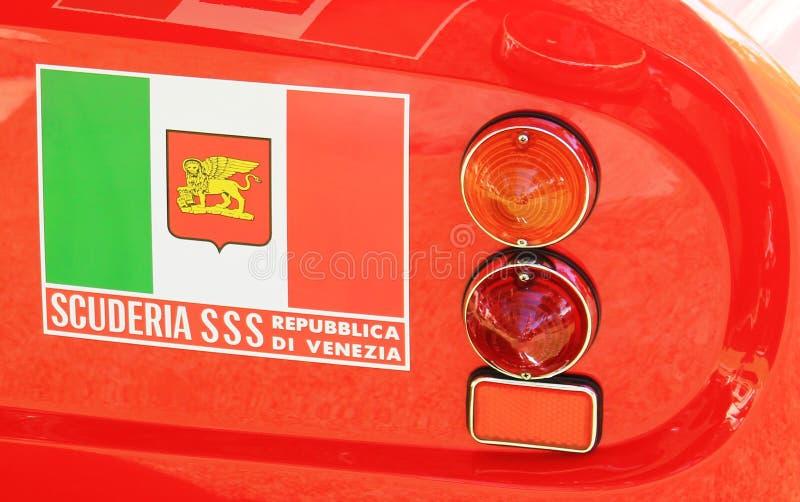 Corsa rosso red Ferrari GTO racecar rear details. 1960s classic Ferrari GTO race car rear closeup view at 2012 Cavallino concorso d`eleganza at the Breakers in royalty free stock photography