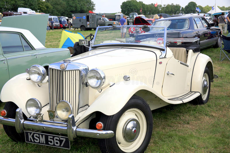 1950s Classic MG TD sports. A Classic 1950s MG TD two seater sports car on display at the Moorgreen country show, Nottinghamshire, England, UK royalty free stock photo