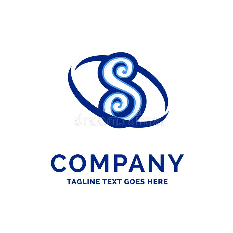 S Company公司名称设计蓝色商标设计 库存例证