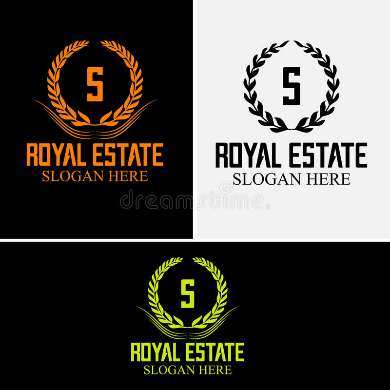 S company logo Luxurious hotel Coat of arms gold colored round royalty classic symbol template vector illustration