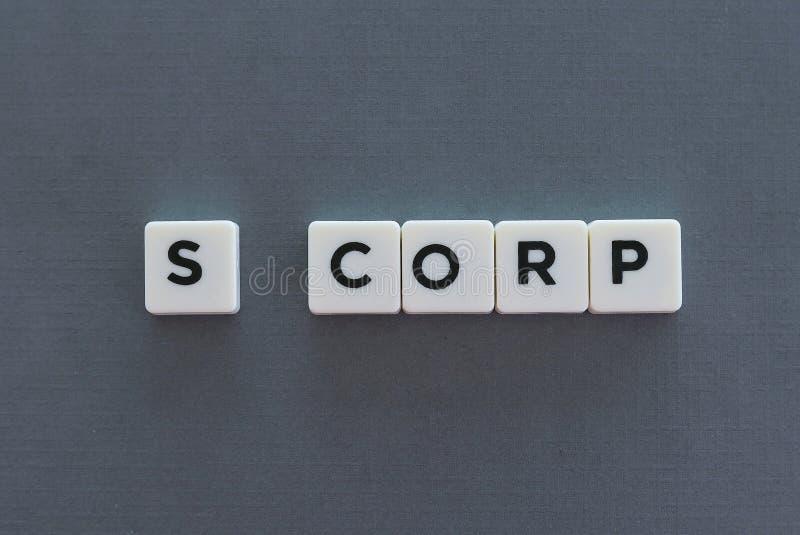 S Corp słowo robić kwadrata listu słowo na popielatym tle obraz stock