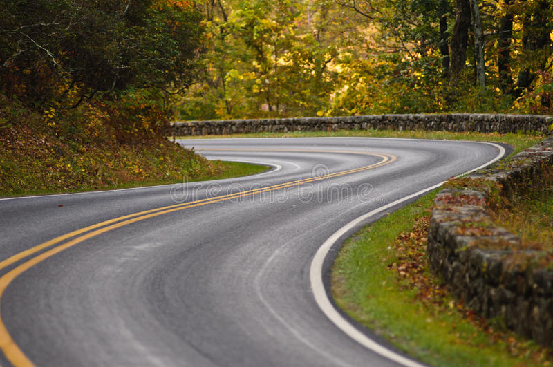 S-Curve Road Skyline Drive Royalty Free Stock Photography