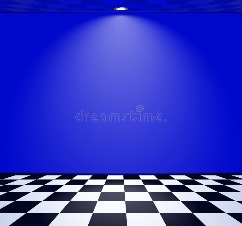 80s a dénommé la pièce de vague de vapeur avec le mur bleu au-dessus du plancher vérifié illustration libre de droits