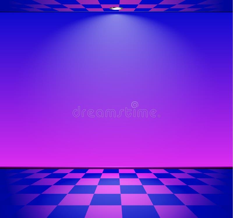 80s a dénommé la pièce de vague de vapeur avec le mur bleu et pourpre au-dessus du plancher vérifié illustration stock