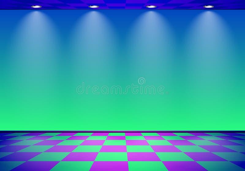80s a dénommé la pièce de vague de vapeur avec le mur bleu et vert au-dessus du plancher vérifié illustration libre de droits
